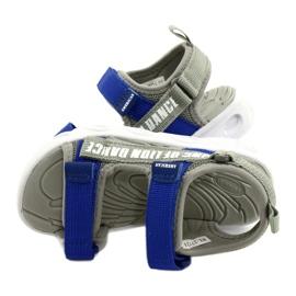 American Club Sandale gri pentru băieți cu velcro RL27 / 21 albastru 3