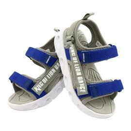 American Club Sandale gri pentru băieți cu velcro RL27 / 21 albastru 4