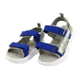 American Club Sandale gri pentru băieți cu velcro RL27 / 21 albastru 1