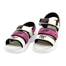 American Club Sandale sport Insert din piele RL29 / 21 Black-Fuxia alb negru roz 1