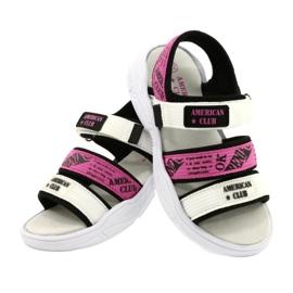 American Club Sandale sport Insert din piele RL29 / 21 Black-Fuxia alb negru roz 3