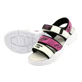American Club Sandale sport Insert din piele RL29 / 21 Black-Fuxia alb negru roz 2