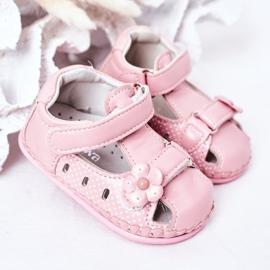 Apawwa Sandale pentru copii cu flori roz cu velcro 2
