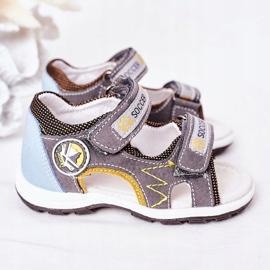 EVE Sandale de fotbal gri pentru copii, cu velcro multicolor 4