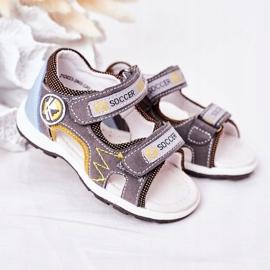 EVE Sandale de fotbal gri pentru copii, cu velcro multicolor 2