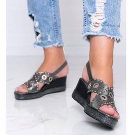 Sandale cu toc metalic gri lun 1