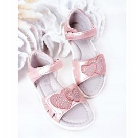 PE1 Sandale pentru copii cu velcro roz inima mea 4