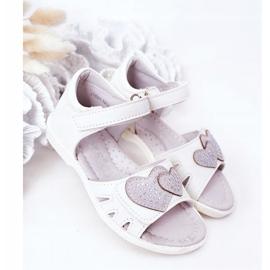 PE1 Sandale albe pentru copii cu velcro inima mea 2