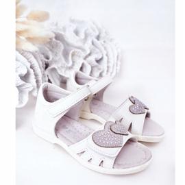 PE1 Sandale albe pentru copii cu velcro inima mea 1