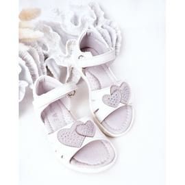 PE1 Sandale albe pentru copii cu velcro inima mea 4