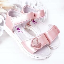 PE1 Sandale pentru copii cu velcro roz dulce 2