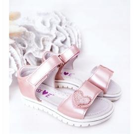 PE1 Sandale pentru copii cu velcro roz dulce 1