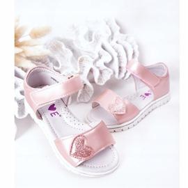PE1 Sandale pentru copii cu velcro roz dulce 4