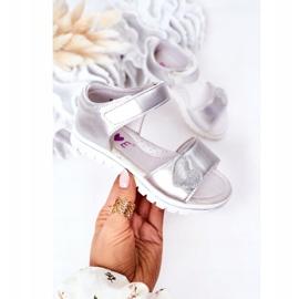PE1 Sandale pentru copii cu Velcro Sweetheart Silver argint 2