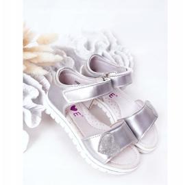 PE1 Sandale pentru copii cu Velcro Sweetheart Silver argint 1