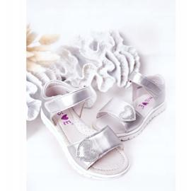 PE1 Sandale pentru copii cu Velcro Sweetheart Silver argint 4