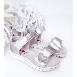PE1 Sandale pentru copii cu Velcro Sweetheart Silver argint 3