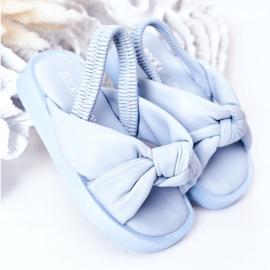 FR1 Sandale pentru copii cu gumă cu bule albastre cu nervuri albastru 2