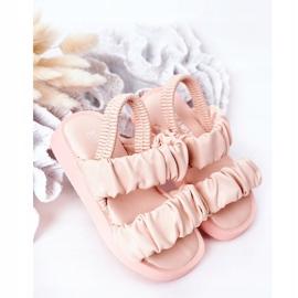 FR1 Sandale pentru copii cu dulceață roz cu nervuri 2
