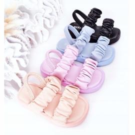 FR1 Sandale pentru copii cu dulceață roz cu nervuri 1