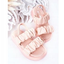 FR1 Sandale pentru copii cu dulceață roz cu nervuri 4