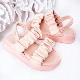 FR1 Sandale pentru copii cu dulceață roz cu nervuri 5