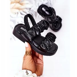FR1 Sandale pentru copii cu dulceață neagră cu nervuri negru 3