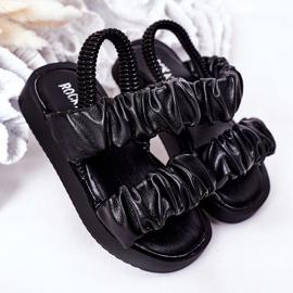 FR1 Sandale pentru copii cu dulceață neagră cu nervuri negru 2