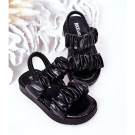 FR1 Sandale pentru copii cu dulceață neagră cu nervuri negru 4