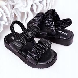 FR1 Sandale pentru copii cu dulceață neagră cu nervuri negru 5