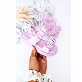 FR1 Sandale pentru copii cu dulceață violet cu nervuri 3