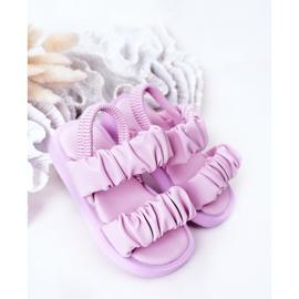 FR1 Sandale pentru copii cu dulceață violet cu nervuri 2