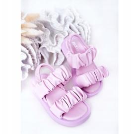FR1 Sandale pentru copii cu dulceață violet cu nervuri 4