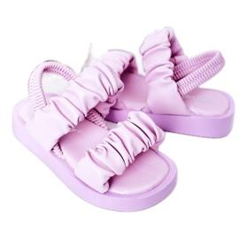 FR1 Sandale pentru copii cu dulceață violet cu nervuri 5