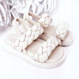 FR1 Sandale pentru copii cu cutie-plăcintă bej cu nervuri 4