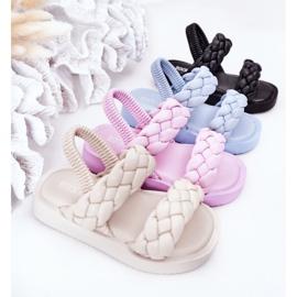 FR1 Sandale pentru copii cu cutie-plăcintă bej cu nervuri 1