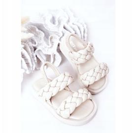 FR1 Sandale pentru copii cu cutie-plăcintă bej cu nervuri 3