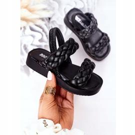 FR1 Sandale pentru copii cu cutie-plăcintă neagră cu nervuri negru 3