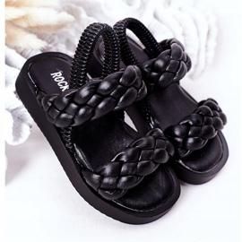FR1 Sandale pentru copii cu cutie-plăcintă neagră cu nervuri negru 2