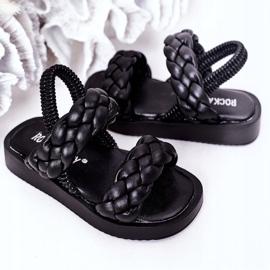 FR1 Sandale pentru copii cu cutie-plăcintă neagră cu nervuri negru 4