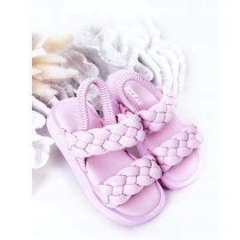FR1 Sandale pentru copii cu cutie-plăcintă violet cu nervuri 3
