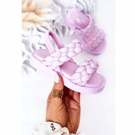 FR1 Sandale pentru copii cu cutie-plăcintă violet cu nervuri 4