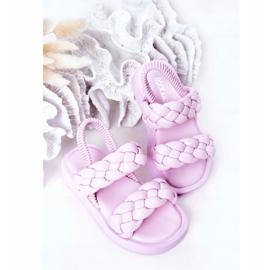 FR1 Sandale pentru copii cu cutie-plăcintă violet cu nervuri 5