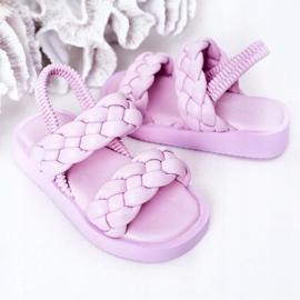 FR1 Sandale pentru copii cu cutie-plăcintă violet cu nervuri 6