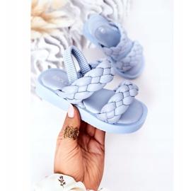 FR1 Sandale pentru copii cu cutie-plăcintă albastră cu nervuri albastru 3