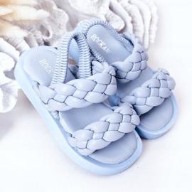 FR1 Sandale pentru copii cu cutie-plăcintă albastră cu nervuri albastru 2