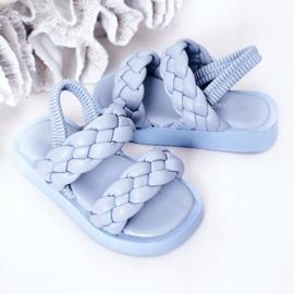 FR1 Sandale pentru copii cu cutie-plăcintă albastră cu nervuri albastru 5