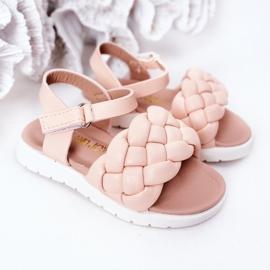 FR1 Sandale pentru copii cu Adella roz împletit 6