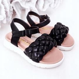 FR1 Sandale pentru copii cu Adella neagră împletită negru 1