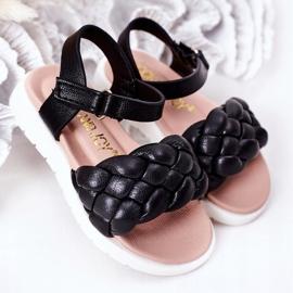 FR1 Sandale pentru copii cu Adella neagră împletită negru 2
